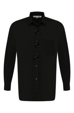 Хлопковая рубашка с декоративными застежками Comme des Garcons. Цвет: черный