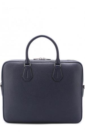Кожаная сумка для ноутбука Bally. Цвет: темно-синий