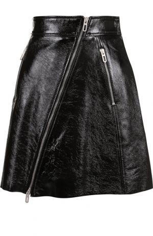 Кожаная мини-юбка с косой молнией DROMe. Цвет: черный