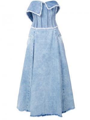 Джинсовое платье-бюстье Natasha Zinko. Цвет: синий