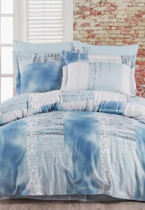 Постельное белье Евро Zugo Home. Цвет: голубой