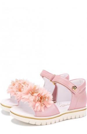Кожаные сандалии с застежками велькро и цветочным декором Missouri. Цвет: розовый