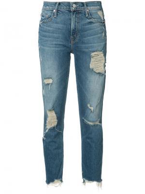Укороченные джинсы с рваными деталями Mother. Цвет: синий