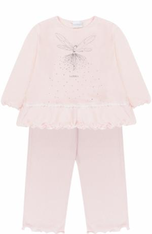 Пижама с металлизированным принтом и стразами La Perla. Цвет: розовый
