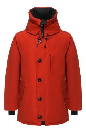 Пуховая куртка Chateau на молнии с капюшоном Canada Goose. Цвет: оранжевый