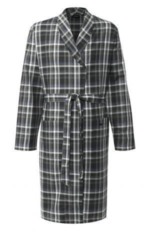 Хлопковый халат с поясом Hanro. Цвет: темно-серый