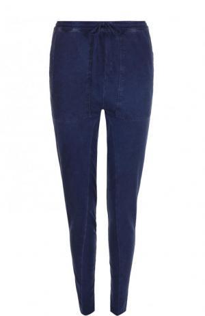 Однотонные хлопковые брюки-скинни Roque. Цвет: темно-синий