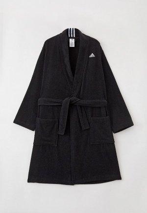 Халат домашний adidas. Цвет: черный