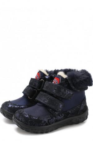 Утепленные ботинки с застежками велькро Naturino. Цвет: синий