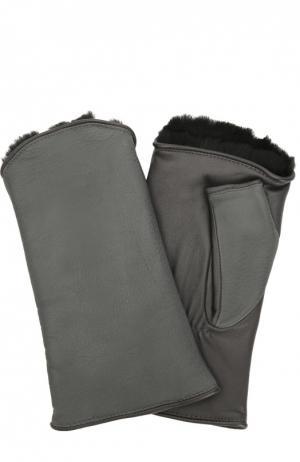 Кожаные перчатки без пальцев с подкладкой из меха кролика Agnelle. Цвет: темно-серый