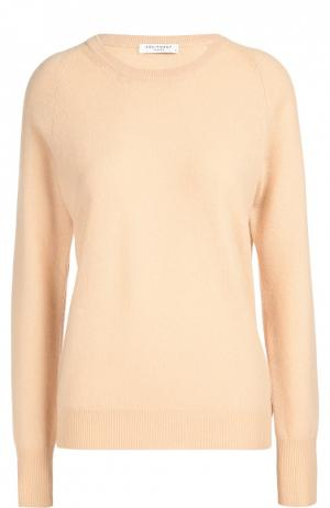 Кашемировый пуловер прямого кроя с круглым вырезом Equipment. Цвет: бежевый