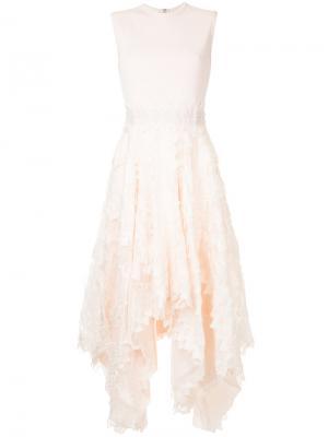 Приталенное расклешенное платье Antonio Berardi. Цвет: розовый и фиолетовый