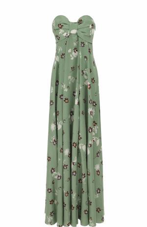Шелковое платье-бюстье с цветочным принтом Valentino. Цвет: светло-зеленый