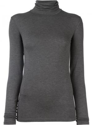 Блузка с высокой горловиной и длинными рукавами Majestic Filatures. Цвет: серый