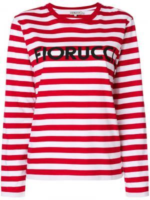 Топ в полоску с логотипом Fiorucci. Цвет: белый