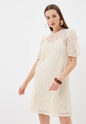 Платье Ichi. Цвет: бежевый