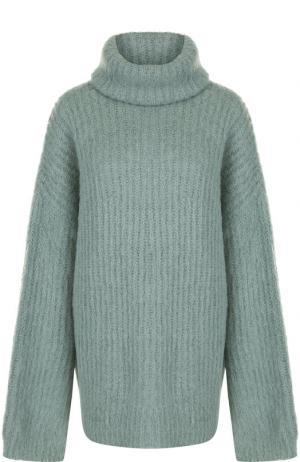 Вязаный пуловер свободного кроя с высоким воротником Erika Cavallini. Цвет: светло-зеленый