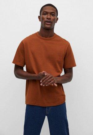 Футболка Mango Man. Цвет: оранжевый