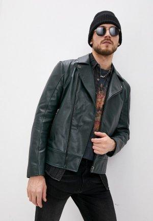 Куртка кожаная Blouson. Цвет: зеленый