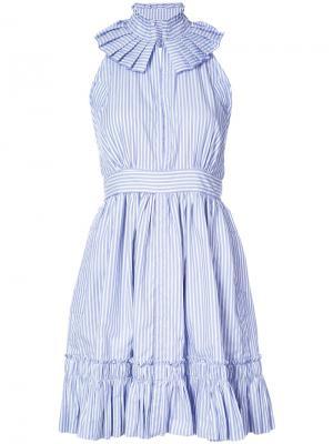 Полосатое платье с пышной юбкой Alexis. Цвет: синий