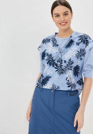 Блуза Jack Wolfskin. Цвет: голубой