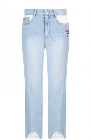 Укороченные джинсы с потертостями и завышенной талией Steve J & Yoni P. Цвет: синий