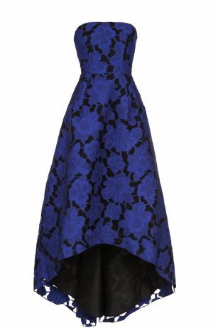Кружевное платье-бюстье с удлиненным подолом Oscar de la Renta. Цвет: синий