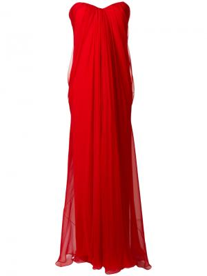 Вечернее платье-бюстье с драпировкой Alexander McQueen. Цвет: красный
