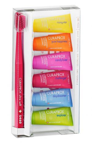 Набор зубных паст с ультрамягкой зубной щеткой Curaprox. Цвет: бесцветный