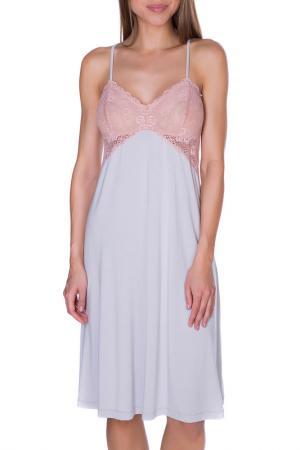 Сорочка ночная ROSE&PETAL HOMEWEAR. Цвет: серый