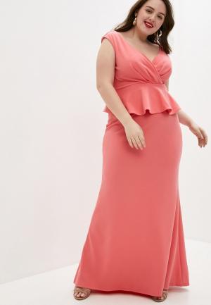 Платье Goddiva Size Plus. Цвет: коралловый