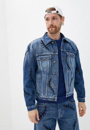 Куртка джинсовая Moschino Couture. Цвет: синий