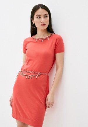 Платье Elisabetta Franchi. Цвет: коралловый