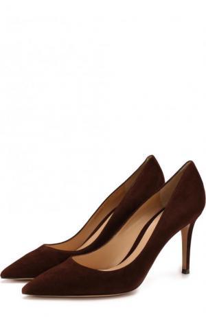 Замшевые туфли Gianvito 85 на шпильке Rossi. Цвет: темно-коричневый