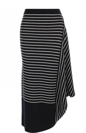 Шерстяная юбка-миди в полоску J.W. Anderson. Цвет: темно-синий