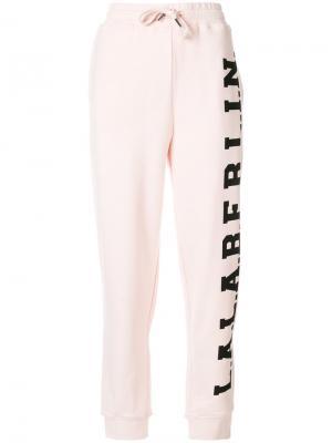 Спортивные брюки с принтом-логотипом Lala Berlin. Цвет: розовый и фиолетовый