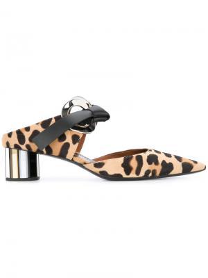 Леопардовые мюли с заостренным носком Proenza Schouler. Цвет: телесный