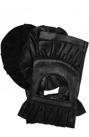 Кожаные митенки с декором и рюшами Agnelle. Цвет: черный