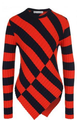 Пуловер фактурной вязки в контрастную полоску Altuzarra. Цвет: оранжевый