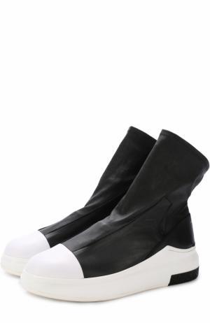 Высокие кожаные кеды без шнуровки на толстой подошве Cinzia Araia. Цвет: черный