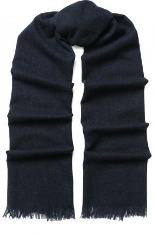 Кашемировый шарф с бахромой Kiton. Цвет: темно-синий