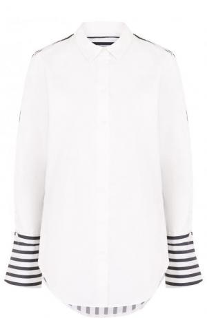 Хлопковая блуза в контрастную полоску Equipment. Цвет: белый