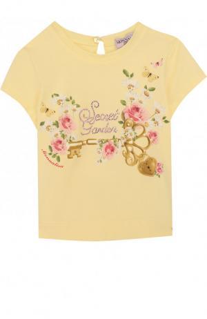 Хлопковая футболка с принтом и стразами Monnalisa. Цвет: желтый