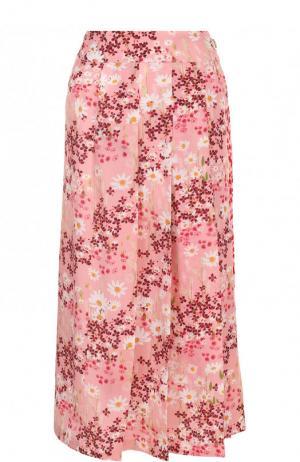 Шелковая юбка-миди с цветочным принтом Mother Of Pearl. Цвет: розовый