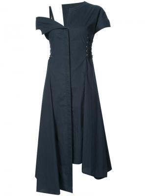 Асимметричное платье миди со шнуровкой Jason Wu. Цвет: чёрный