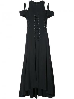 Платье с открытыми плечами и шнуровкой Jason Wu. Цвет: чёрный