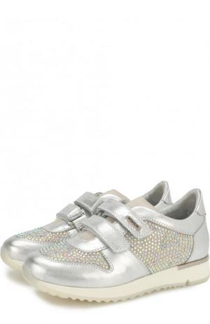Кроссовки из металлизированной кожи со стразами и застежками велькро Missouri. Цвет: серебряный
