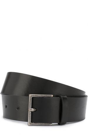 Кожаный ремень с металлической пряжкой Erika Cavallini. Цвет: черный