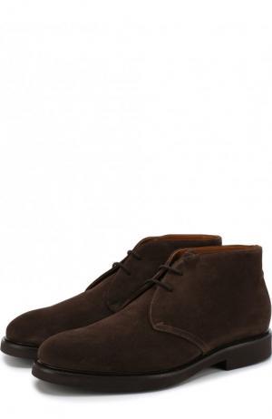 Замшевые ботинки на шнуровке с внутренней меховой отделкой Doucals Doucal's. Цвет: темно-коричневый