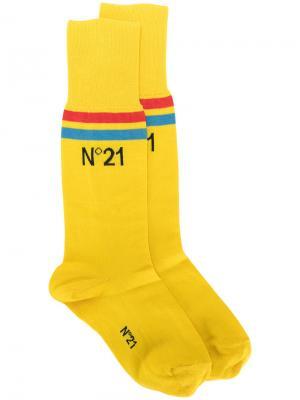 Носки с полосами и логотипом Nº21. Цвет: жёлтый и оранжевый